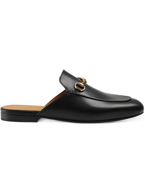 Gucci Princetown Leather Horsebit Mule Slipper Flats In Black