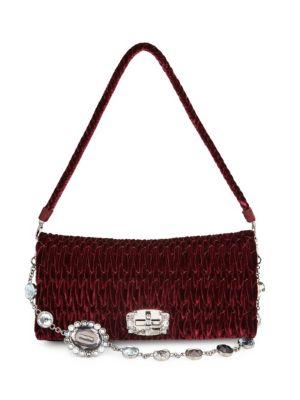 Miu Miu Medium Crystal Embellished Quilted Velvet Shoulder Bag - Red In  Cameo Beige 3a1fc11c53a44