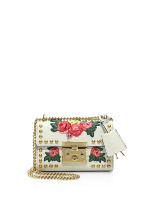 bb674543aaac Gucci Padlock Floral-Embroidered Studded Leather Chain Shoulder Bag In White