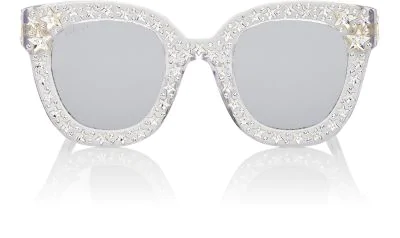 977624297d3 Gucci Gg0116S Acetate Cat Eye Women s Sunglasses W Stars Feature Star  Worthy Retro In Silver