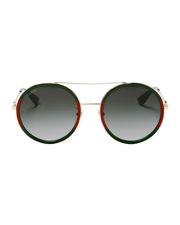 Gucci Colorblock Round Aviator Sunglasses In Gold