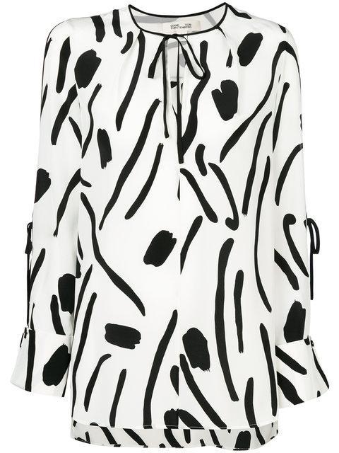 1814d54c31252b Diane Von Furstenberg Keyhole Tied Long Sleeve Silk Blouse
