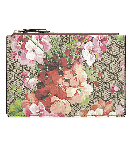 7840990a6 Gucci Gg Blooms Large Canvas & Suede Pouch In Beige | ModeSens