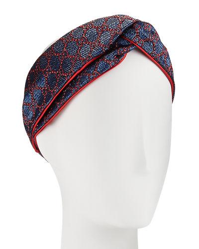 a211e188b65 Gucci Gg Supreme Glitter Jacquard Headband In Blue