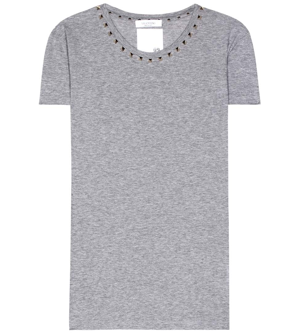 Valentino Rockstud Untitled Cotton T-shirt In Grey