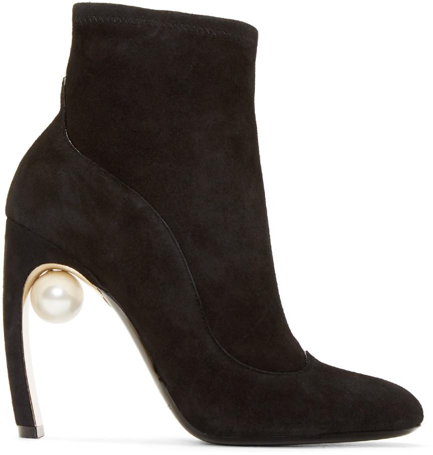 Nicholas Kirkwood Black Stretch Suede Maeva Pearl Ankle Boots