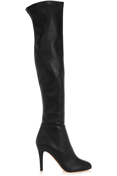 Jimmy Choo Toni Black Calf Leather And Stretch Nappa Over The Knee Boots In Llack