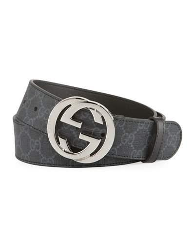 6ed7e9cfdbeb Gucci Gg Supreme Belt With G Buckle In Black   ModeSens