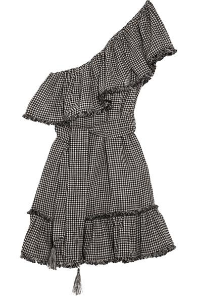 e1b5e422de5 Zimmermann One-Shoulder Gingham Linen And Cotton-Blend Mini Dress In Black  Check