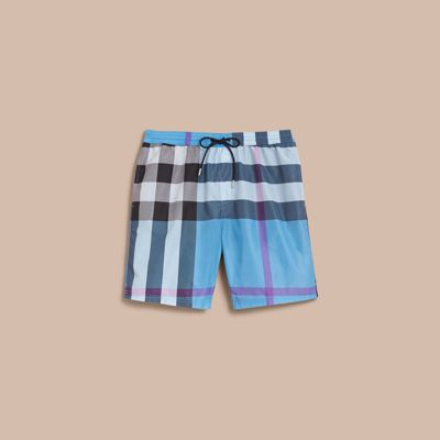 31fccc731e7b7 Burberry Check Swim Shorts In Cerulean Blue | ModeSens