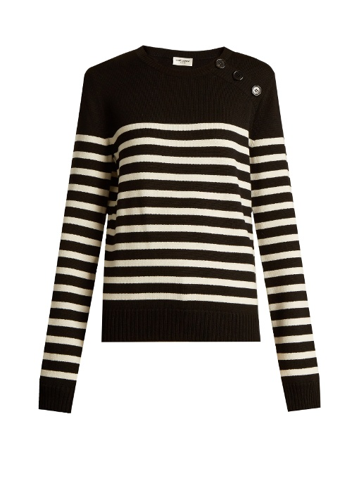 Saint Laurent Breton-striped Wool Sweater In Black Stripe