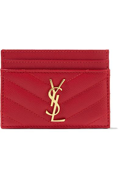 Saint Laurent Quilted Monogram Leather Card Holder, Red