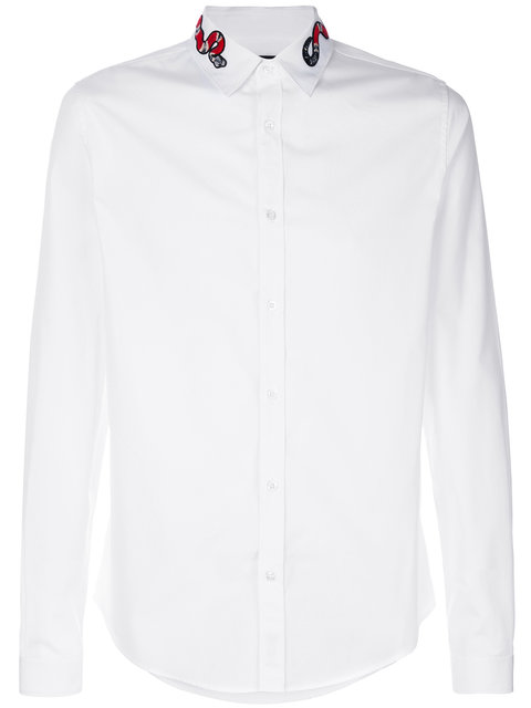 34fb699f7 Gucci Kingsnake-Embroidered Cotton Poplin Shirt In White | ModeSens