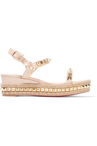 Christian Louboutin Cataclou 60 Embellished Patent-leather Wedge Espadrille Sandals In Gold/gold