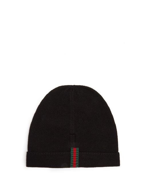 b5216bd064f77 Gucci Web-AppliquÉ Wool Beanie Hat In Blue