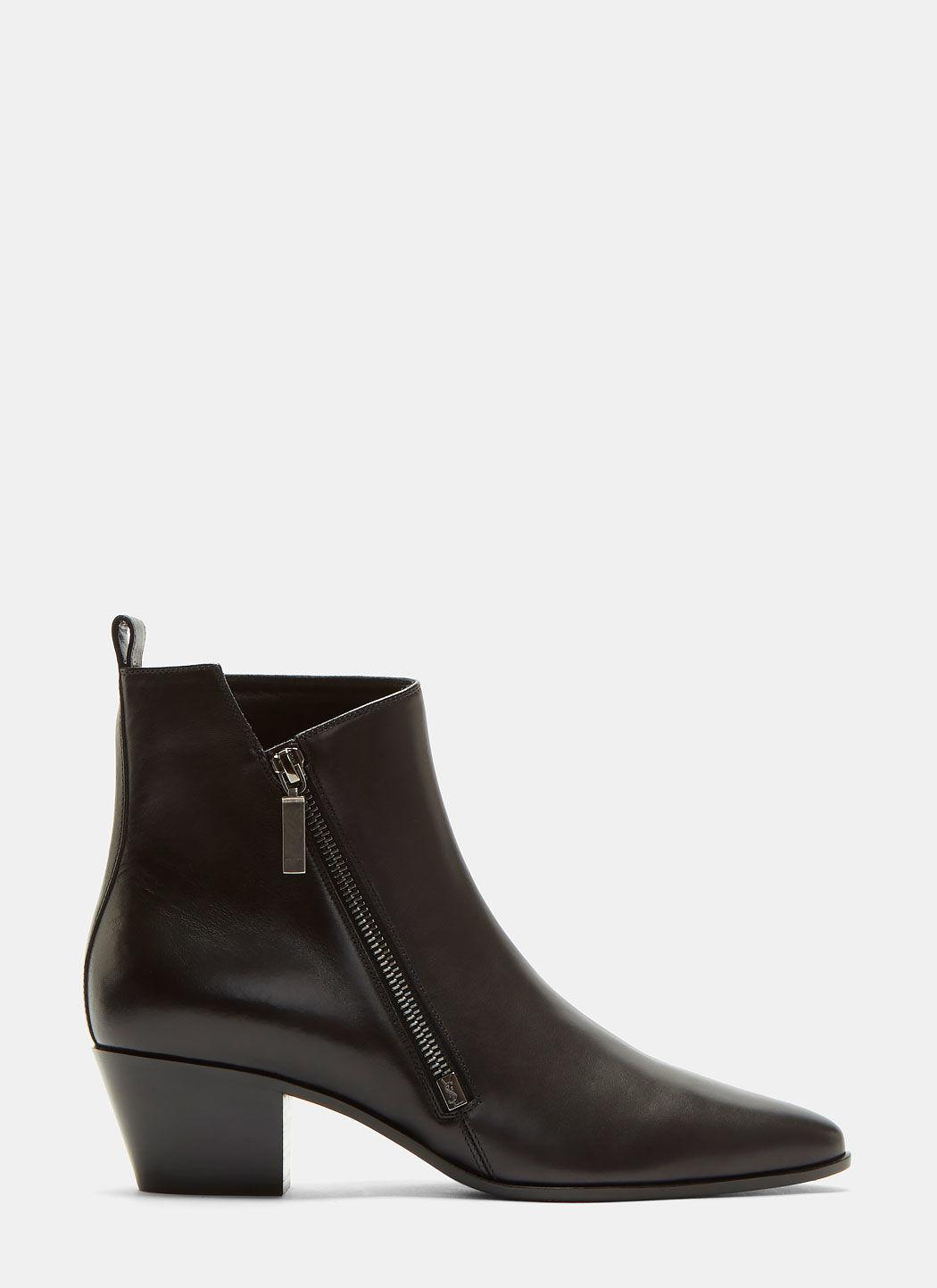 Saint Laurent Rock 40 Zip Ankle Boot In Black Leather