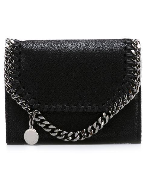 Stella Mccartney Falabella Small Shaggy Deer Wallet On A Chain In Black