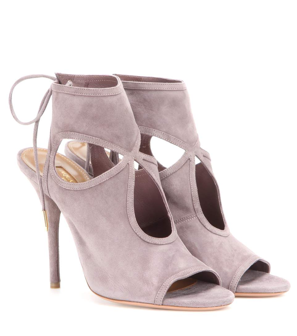 Aquazzura Sexy Thing Suede 85Mm Sandal, Light Gray In Light Grey