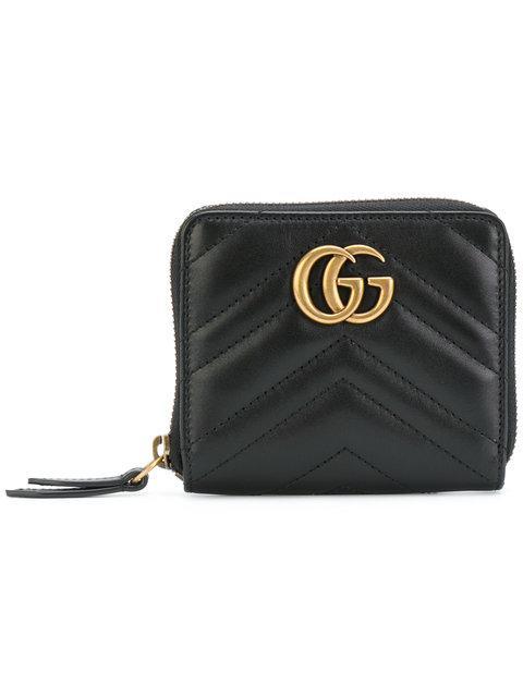 Gucci Black Mini Gg Marmont 2.0 Zip Around Wallet