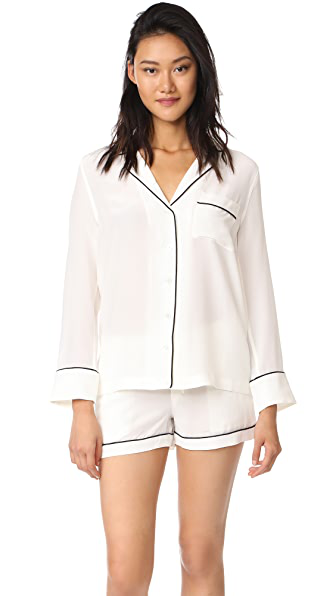 Equipment Lillian Silk Short Pajamas In White
