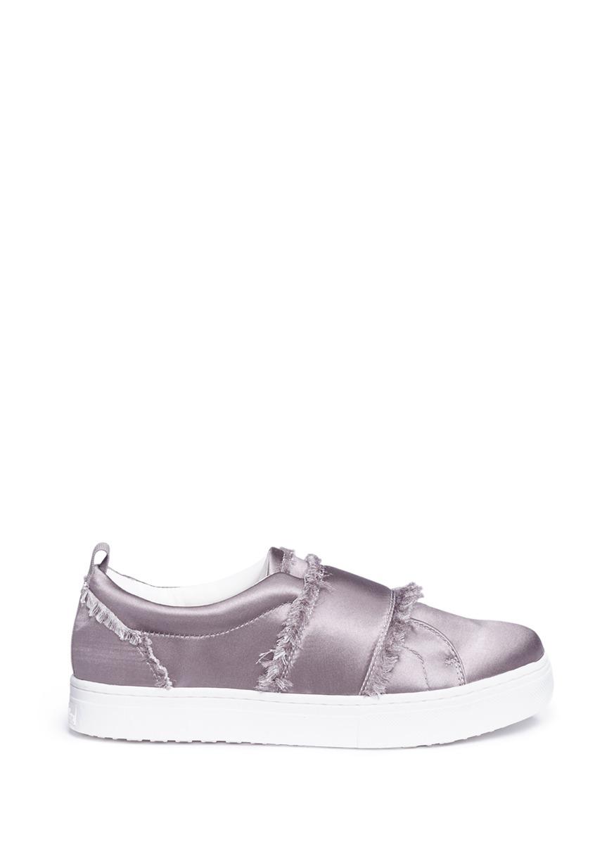 5a38084d434ee Sam Edelman Levine Frayed Satin Platform Slip-On Sneakers In Light Grey