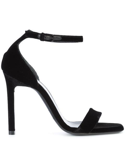 Saint Laurent 110mm Jane Smooth Leather Sandals In Black