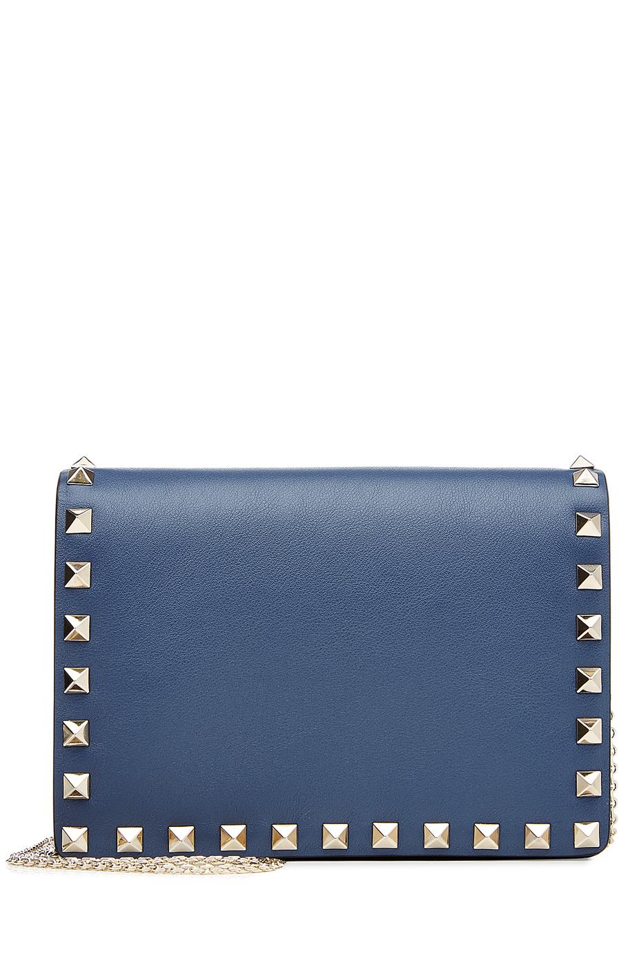 Valentino Garavani Rockstud Leather Shoulder Bag In Blue