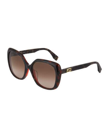d12ee02292 Fendi Multi-Layered Two-Tone Square Plastic Sunglasses