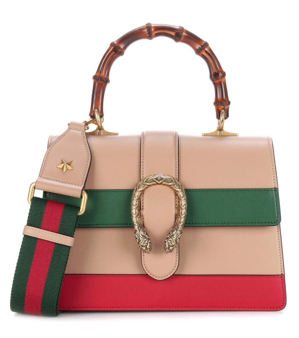 87b5c7902e43 Gucci Dionysus Bamboo Medium Leather Shoulder Bag In Orange, Green, Red