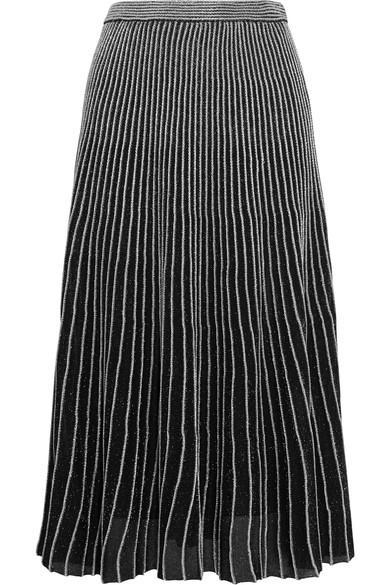 Proenza Schouler Two-Tone Ribbed Lurex Midi Skirt In Black
