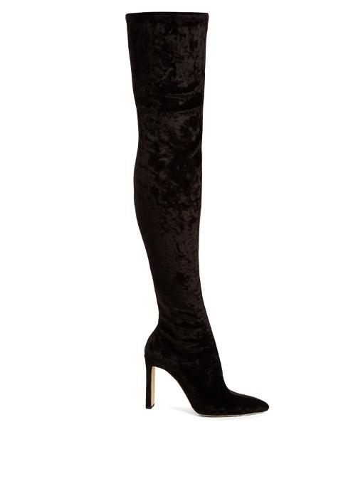 d7289a3ebd38 Jimmy Choo Lorraine 100 Black Crushed Stretch Velvet Pointy Toe Over The Knee  Boots