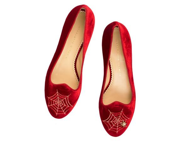 Charlotte Olympia Woman Embellished Embroidered Velvet Slippers Crimson In Red/Other
