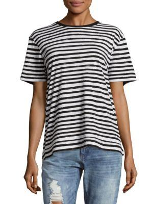 Marc Jacobs Sketch Striped Cotton Tee In Black Multi