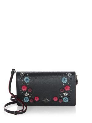 c8c0fa317 Coach Foldover Crossbody Clutch In Polished Pebble Leather With Snake Willow  Floral In Dark Antique Nickel