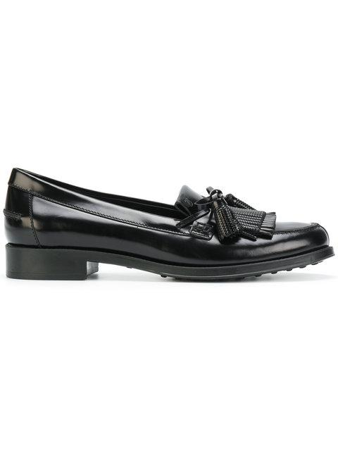 Tod's Mocassino Leather Loafers In Black