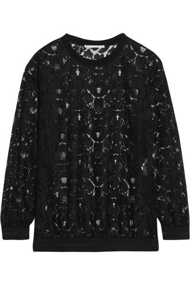 Stella Mccartney Ines Metallic-trimmed Lace Sweater In Black