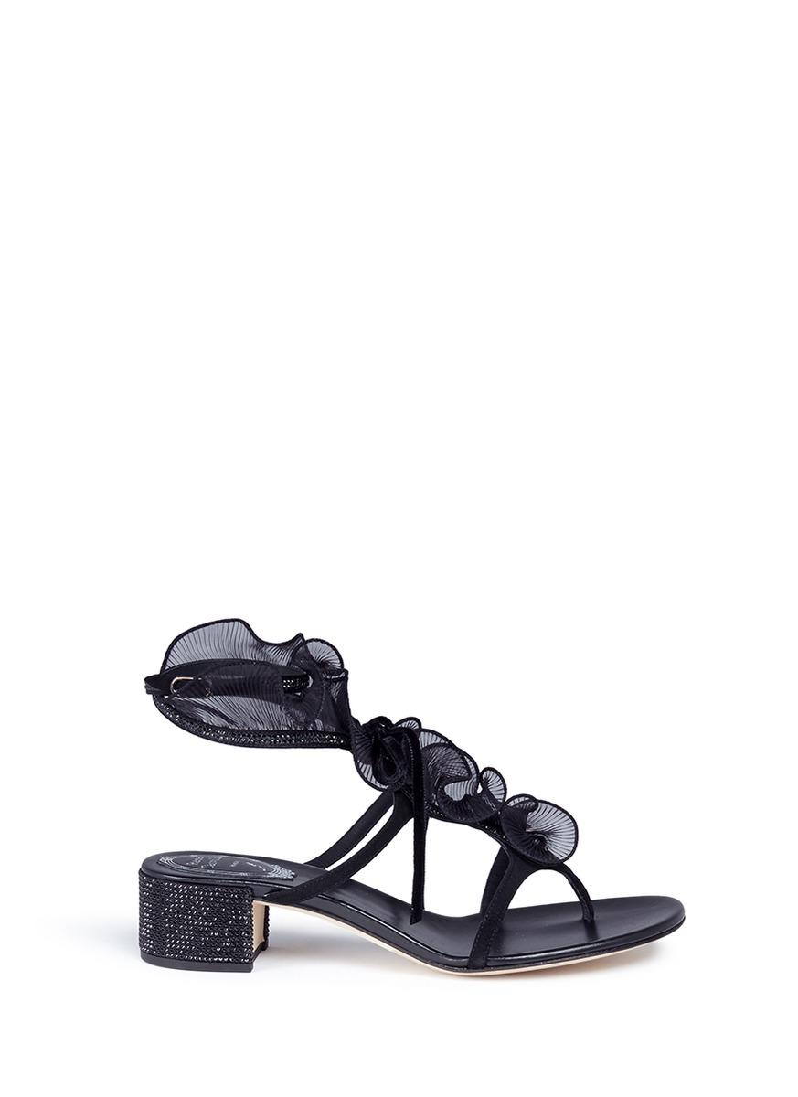 ee286813e436 RenÉ Caovilla Mesh Ruffle Strass Block Heel Suede Sandals In Black Pattern