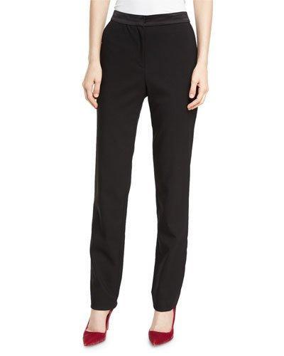 Oscar De La Renta Stretch Virgin Wool Straight-Leg Pants In Black