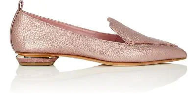 bca2c51a38c Nicholas Kirkwood Beya Dusty Pink Metallic Tumbled Leather Loafer ...