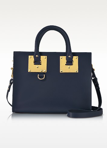 Sophie Hulme Deep Navy Albion Saddle Leather Medium Tote Bag In Navy Blue