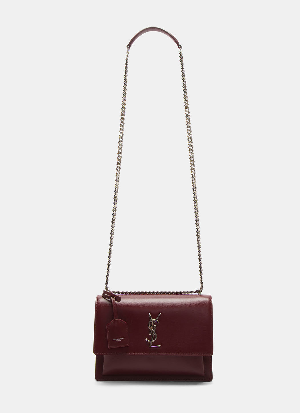 Saint Laurent Medium Sunset Calfskin Shoulder Bag - Burgundy In Red ... c0e3ff775561f