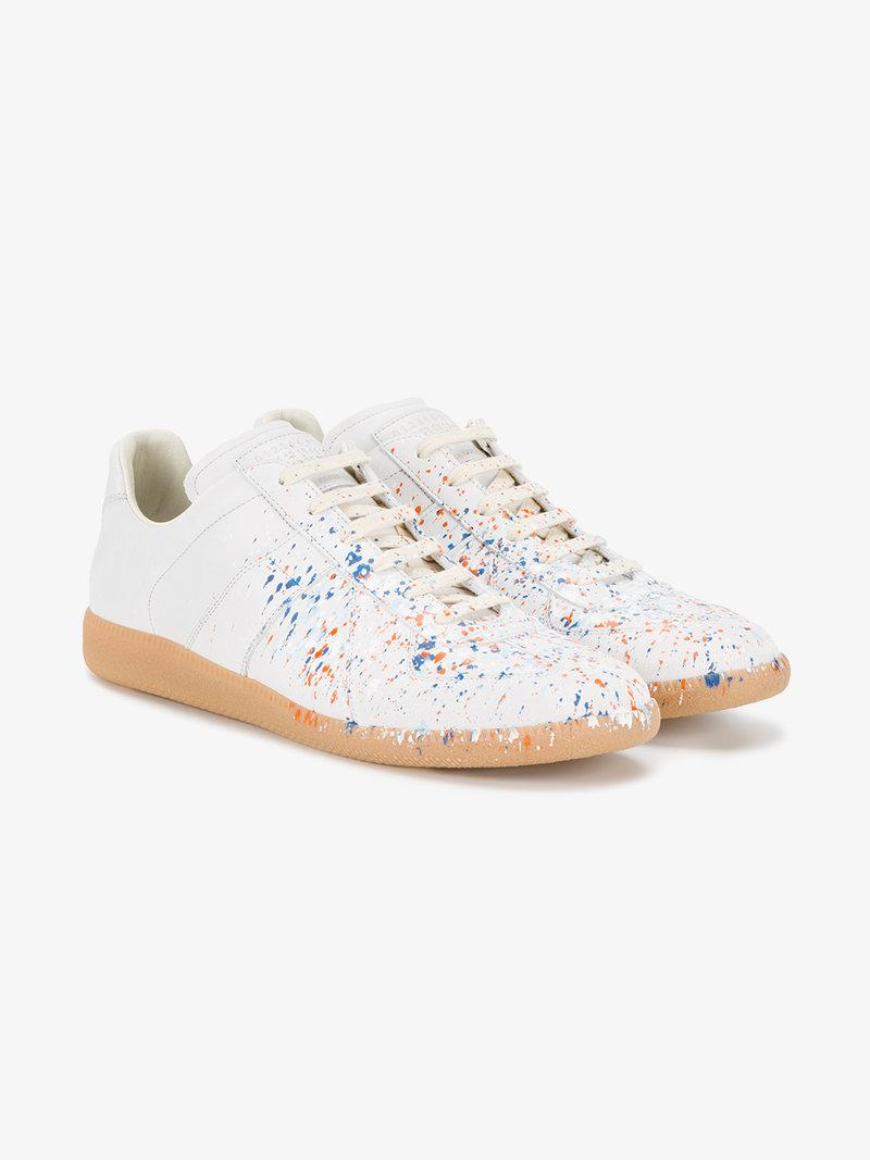 87a5020346030 Maison Margiela Men s Replica Paint-Splatter Leather Mid-Top Sneakers