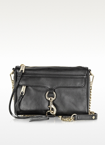 Rebecca Minkoff Black Leather Mini Mac Crossbody Bag