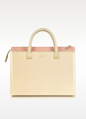 Linda Farrow Anniversary Ayers And Leather Tote In Beige/pink