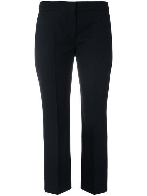 Alexander Mcqueen High-rise Slim-leg Cropped Wool Trousers In Black