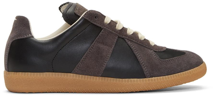 Maison Margiela Replica Leather And Suede Sneakers In 900 Black