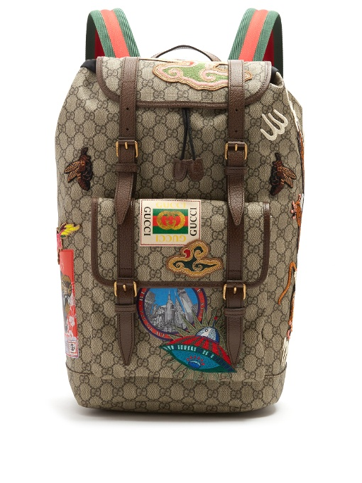 09f303fd8 Gucci Leather-Trimmed AppliquÉD Monogrammed Coated-Canvas Backpack In  Multicolour