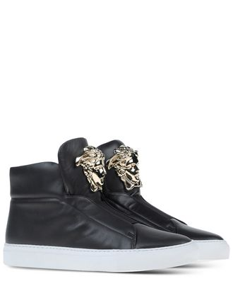Versace Gunmetal Leather Medusa High-Top Sneakers In Gold