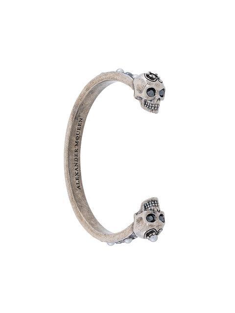 Alexander Mcqueen Skull Cuff Bracelet In Metallic