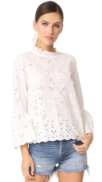 97744ec9b42ecf Ulla Johnson Halsey Broderie Anglaise Cotton And Linen-Blend Blouse In White